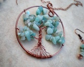 Amazonite and Copper Tree of Life Necklace