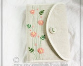 Bible cover, Journal Cover ,linen,cotton, hand embroidered rose,custom made,personalized Bible cover
