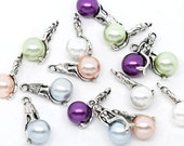 4 Mermaid Charms Antique  Silver Tone 3D with Colorful Bead - SC1624