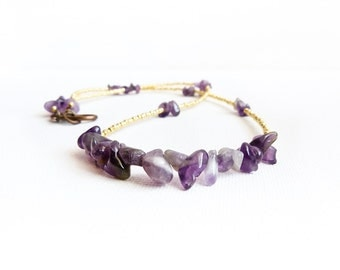 February birthstone jewelry Amethyst gemstomne gold seed beads beaded strand necklace. gift idea