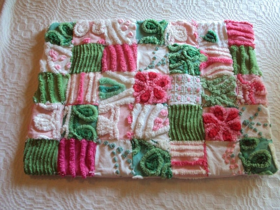 Cute vintage chenille doll quilt, lovey or pet bed, pinks and green