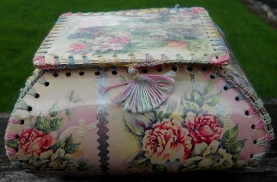 Vintage Hand Made Card Crochet Box RESERVED for Victorian Lady