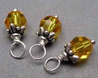 Swarovski Crystal Bead Charm, Sunflower Yellow Swarovski  Crystals, Stitch Markers,   Bead Dangles, 6mm Swarovski Beads, Interchangeable
