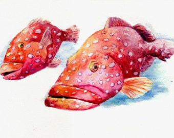 Two Fish -print from original watercolor painting, Holiday present / birthday present / art collection