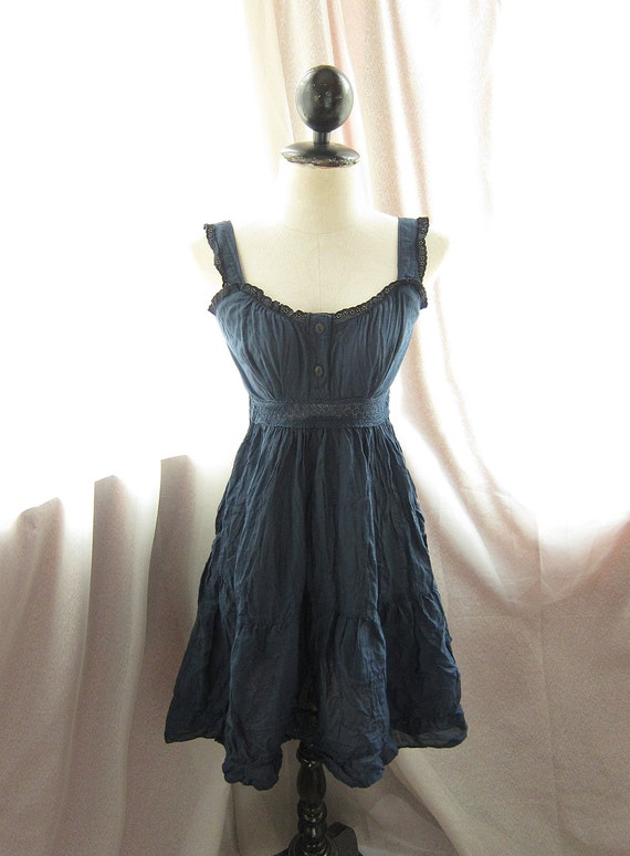 Rustic Romantic Autumn Navy Blue Rainy Peasant Gypsy Cotton Hippie Frolic Country Indie Beach Alice in Wonderland Dress
