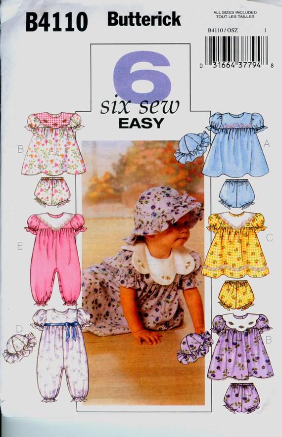 Butterick Pattern 4110 for Infants' Dress, Jumpsuit, Hat