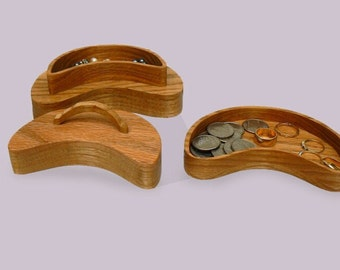 Oak Crescent Shaped Keepsake Box Two -Tiered  With Secret Compartment