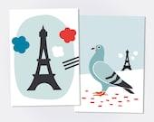 BONJOUR PARIS POSTCARD. Set of 2