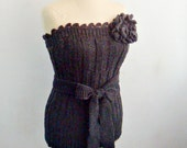 Knitting and Crocheting PATTERN Knit Bustier, Corset Top, Crochet Flower Brooch, 18