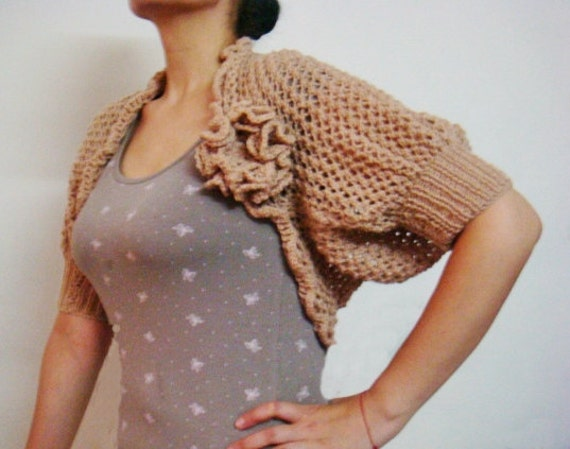 Lace Shrug Knitting Pattern, Knit Bolero Pattern , Knit Flower Pin Brooch Pattern