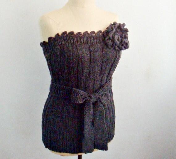 Knitting and Crocheting PATTERN Knit Bustier, Corset Top Pattern, Crochet Flower Brooch Pattern, 18