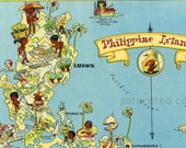 Philippine Islands ORIGINAL 1930s Antique Picture Map Philippines - Ruth Taylor White - Mindanao Samar Panay Luzon Samar Souvenir
