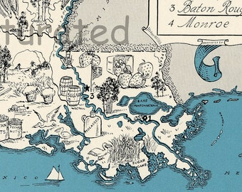 Louisiana Map - Map Art - High Res DIGITAL IMAGE of a 1930s Vintage Picture Map - Turquoise Aqua - Charming & Fun