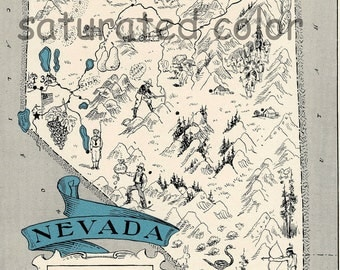 Nevada Map Vintage - Map Art - High Res DIGITAL IMAGE of a 1930s Vintage Picture Map - Turquoise Aqua - Charming & Fun - wedding map