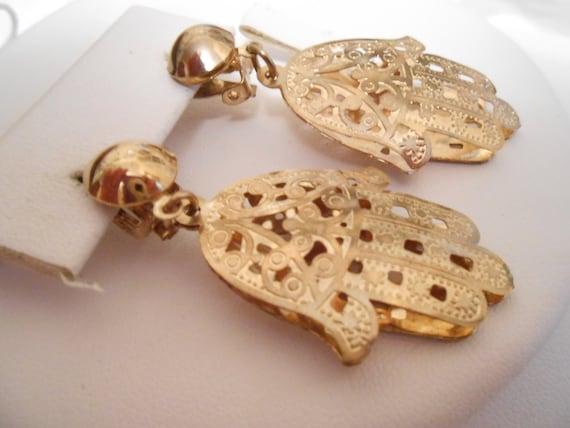 Vintage earrings, Hamsa earrings, Hand of Fatima earrings, clip-on earrings, protection earrings