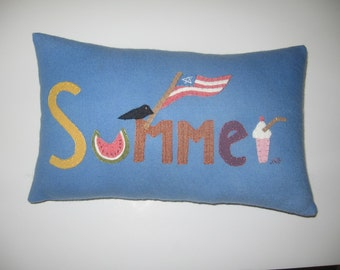 Primitive SUMMER Wool Applique Pillow Original Design of JKB