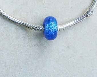 Azure Dichroic Lampwork Bead for European Charm Bracelet