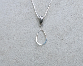 Add a Bead Oval Pendant, with Decorative Bail and 2mm Chain