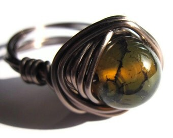 Olive Green Wire Wrapped Ring Dragon Vein Agate Stone Fashion Jewelry