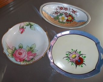 Lot of Three Odd Dishes, Vintage Bowls/Dishes, Trinket Tray, Floral Designs