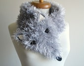 Happy Fox Scarf,  Three Dimension, Animal Costume, Faux Fur, silver grey , Funny and Furry