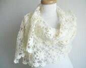 Ivory Cream Shawl,  Wedding, Bridal  Fashion,   Rectangular  Shawl By Crochetlab, Mohair, Ready To Ship, Gift for Her