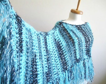 Poncho With Fringes, Blue and Black, Winter Fashion, New Season,Wearable in many ways