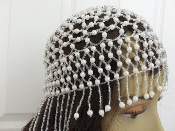 Pearl Beaded Fringe Head Piece Headpiece Flapper Skull Cap