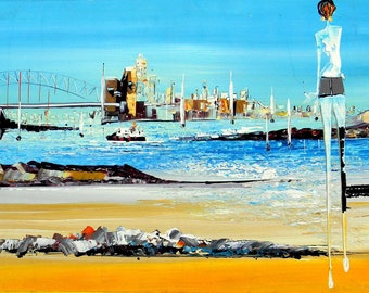Sydney Lanscape- Original Painting - Abstract art -wall art -aussi art- oz art - modern painting - amazing art - bright painting