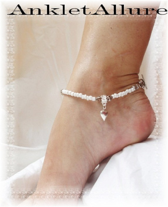 Beach Lover Heart Charm Anklet Sea Shell White Silver Ankle Bracelet