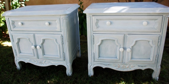 """SOLD """"Can Make Similar"""" Set of  Shabby Chic DREXEL Nightstands, Powder Blue Can be Customized, girls room, Annie Slone Chalk Painted"""