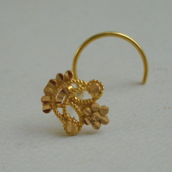 18k traditional design gold nose stud nosepin rajasthan india