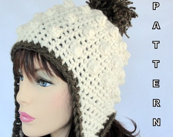 Crochet Ear Flap Hat PATTERN , Sugar Mountain Earflap Hat