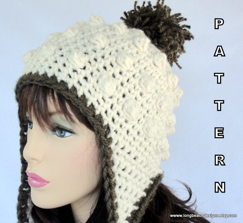 Crochet Ear Flap Hat PATTERN Sugar Mountain Earflap Hat