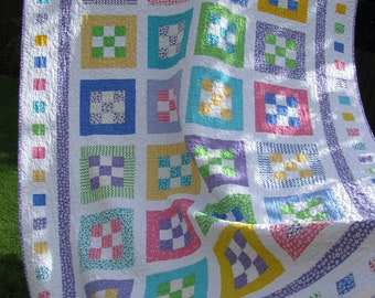 HAND Quilted Twin Patchwork Quilt FREE Shipping