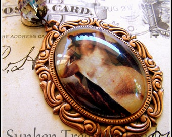 The Birth of Venus, Glass Cameo Necklace, Artwork by William Bouguereau