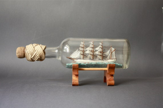 Vintage Ship in a Bottle With Turks Head Knot and Wooden Pedestal