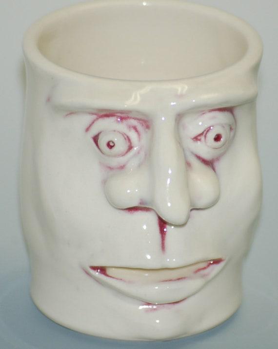 Stoneware Handmade Hand Carved Face Cup Egg Separator - Egg Whites