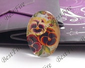 2pcs of the 18x25mm Oval Glass Cabochons Flower, jewelry Cabochons finding beads,Glass Cabochons, Flowers--10