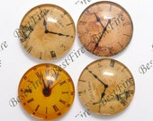 4pcs of the 25mm Round Glass Cabochons Mix horologe, jewelry Cabochons finding beads,Glass Cabochons, WATCH-FACE--01