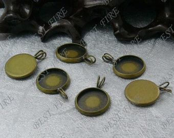 10 pcs of Antique Brass Round Cabochon Pendant Base,Cabochon size 12mm,Blank Pendant findings
