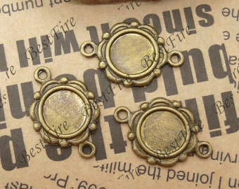 10pcs Antique Brass Round Cabochon Base 16x23mm (Cabochon Size:10mm),Blank Cabochon Base,Pendant Findings