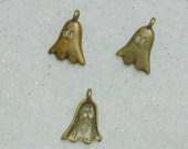 Tiny Ghost Charms Retro Bronze Ghost Charms with Hollow Eyes Lot of 3