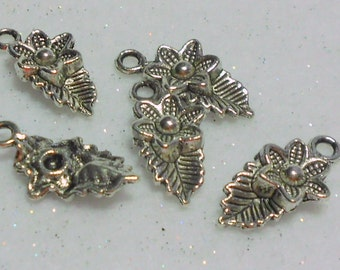 Silver Flower and Leaf Charms Lot of 5