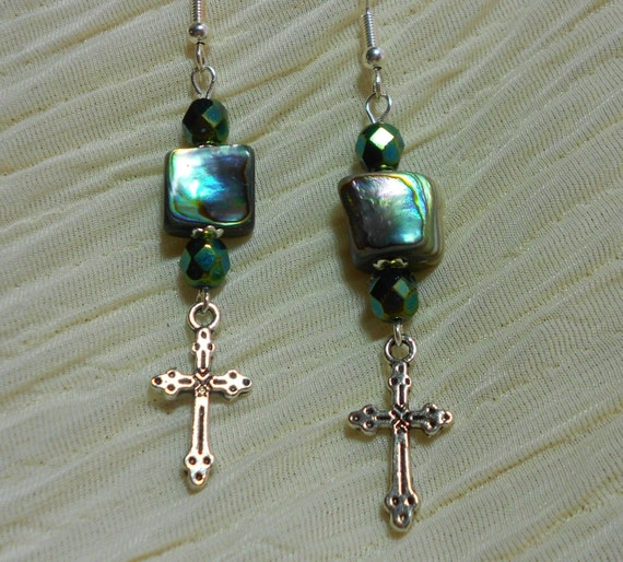 Cross Earrings Abalone Shell Dangle Earrings