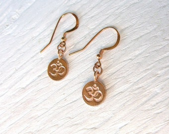 Rose gold OM earrings, rose gold earrings