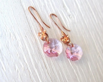 Rose gold earrings with pink Swarovski crystal