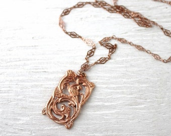 Rose gold necklace, long rose gold necklace, rose gold art nouveau pendant