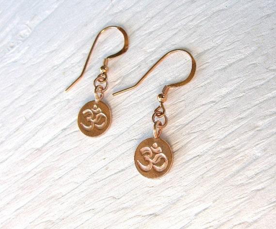 Rose gold OM earrings, rose gold earrings, handmade earrings, handmade rose gold