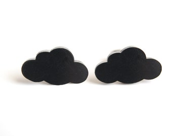 Black Cloud Earrings. Cloud Post Earrings